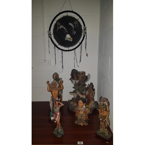 46 - Six Indian figures and a dreamcatcher...