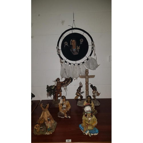 47 - Six Indian figures and a dreamcatcher...