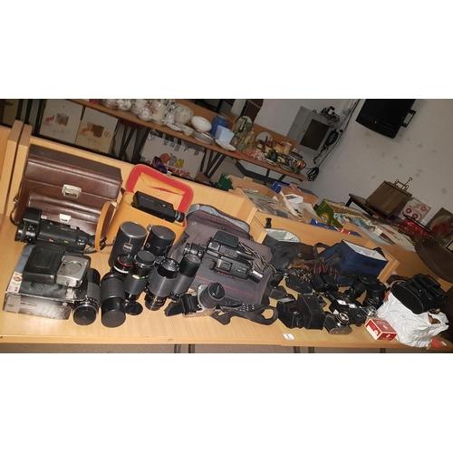 5 - Large quantity of camera equipment , lenses, bags etc. including Olympus, Kodak, Pentax- M, Vivitar ...