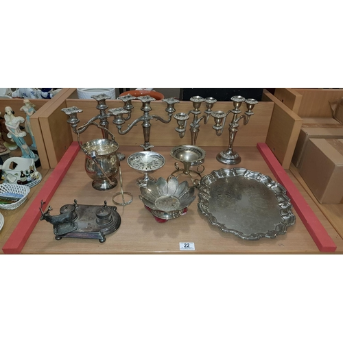 22 - Collection of silver plate...