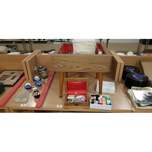 46 - Sewing stool and contents...