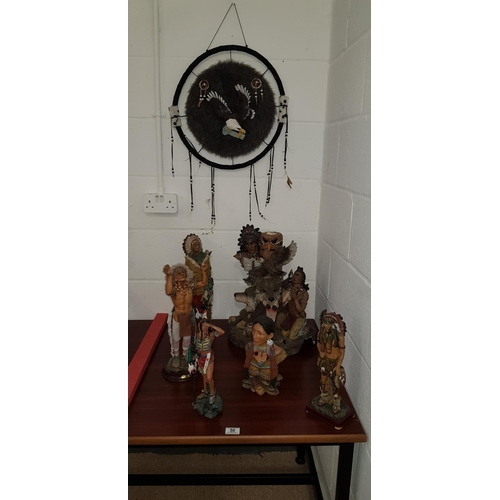 50 - Six Indian figures and a Dreamcatcher...