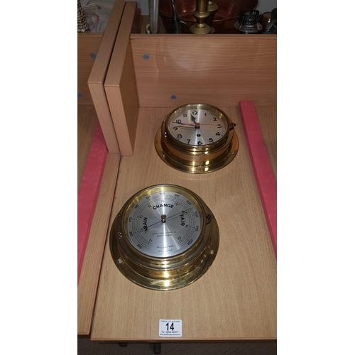14 - John Lillie and Gillie marine mechanical ship's bulkhead clock and barometer...