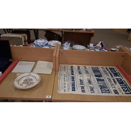 45 - Early plate, 1930's boxing poster and antique deeds...