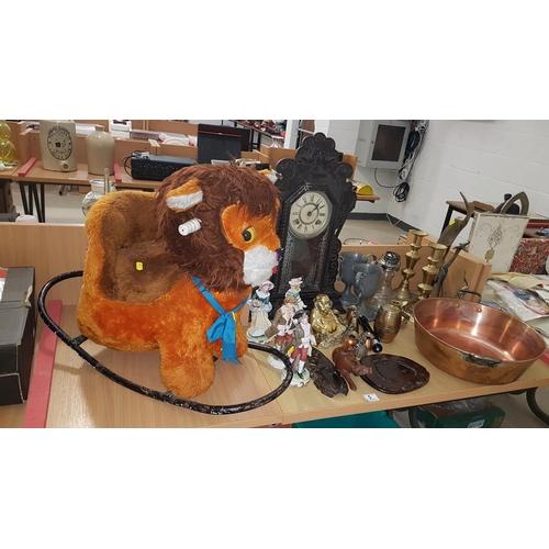 5 - Copper jam pan, figurines, brass candlesticks etc....