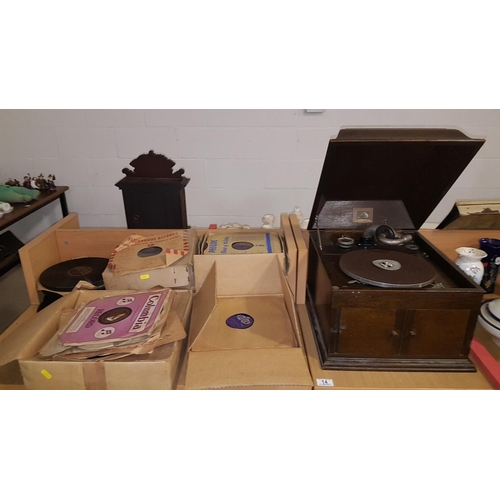 14 - Hampstow & Fickling gramophone and a quantity of 78's...