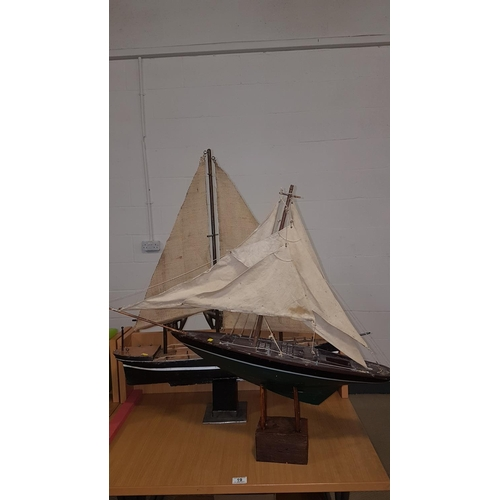 19 - Two wooden sailing boats...