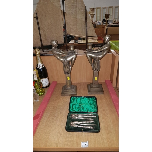 2 - Pair of Art Deco style brass candlesticks together with silver plated Walker and Hall nutcracker set...