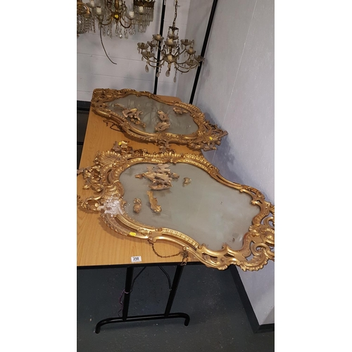 250 - A Pair of early gilt framed ornate Pier mirrors ( in need of restoration)...