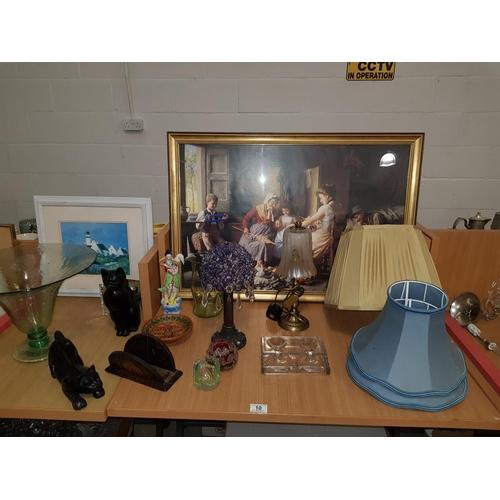 10 - Lamps, pictures, wooden cat figures etc....