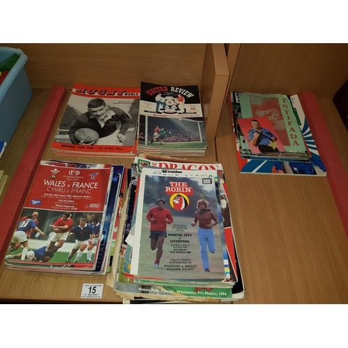 15 - Collection of rugby and football programmes...