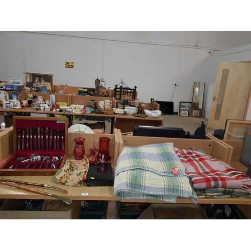 27 - Cutlery set, collection of woolen blankets ( made in wales) , glass etc....