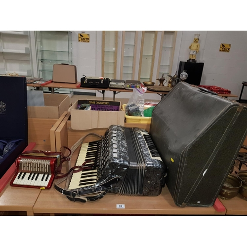 35 - Baile piano accordion and Hohner child's accordian...