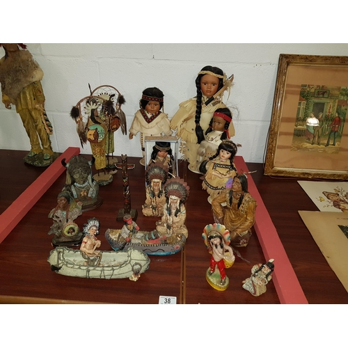 38 - Quantity of American Indian figurines and statues...