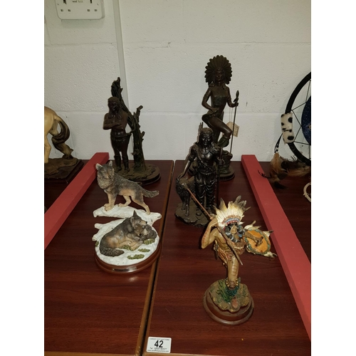 42 - Five American Indian figurines...