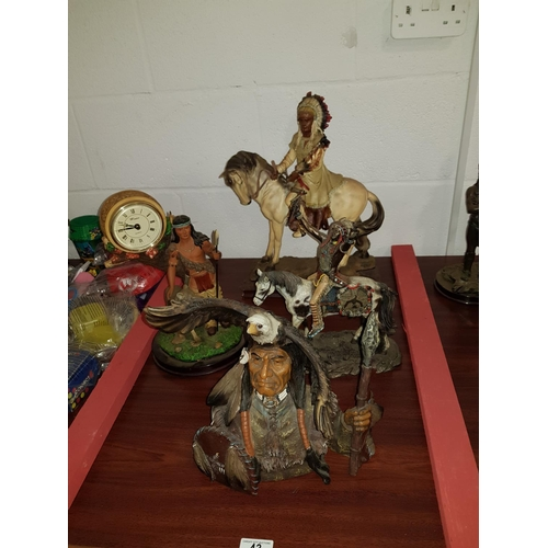43 - Four large American Indian figurines...