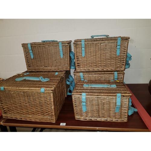 7 - 6 wicker picnic hampers...