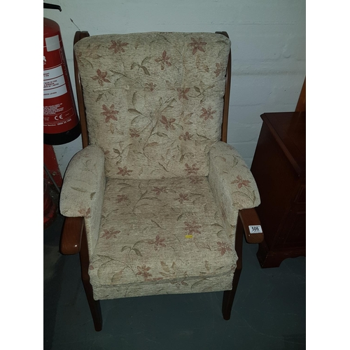 506 - Wooden upholstered chair...