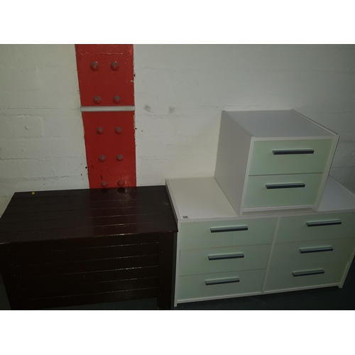 508 - Chest of draws, bedside cabinet and a storage box...