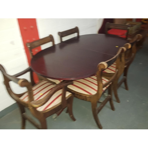 512 - Wooden dining table with 6 chairs including 2 carvers...
