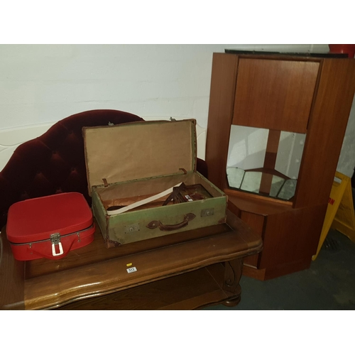 513 - Quantity of furniture including coffee table , vintage suitcases, mirrors...