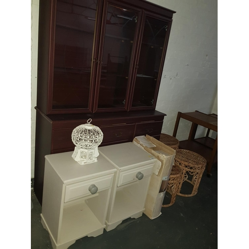 514 - Quantity of furniture including vanity unit , glass display unit, bedside cabinets...