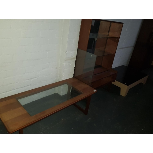 516 - Two glass topped coffee tables and vintage display cabinet with glass doors...