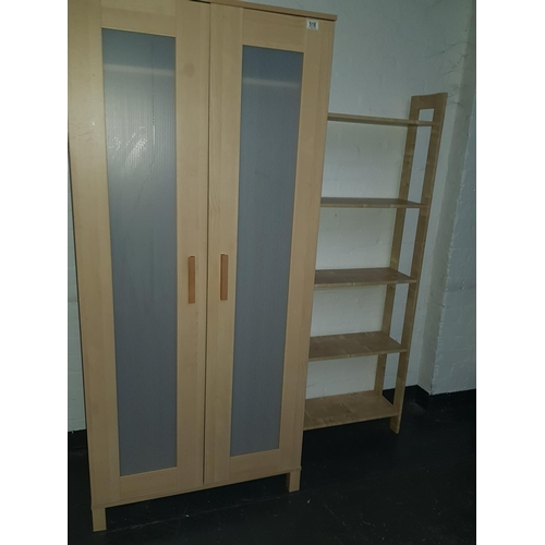518 - Wooden wardrobe and bookcase...