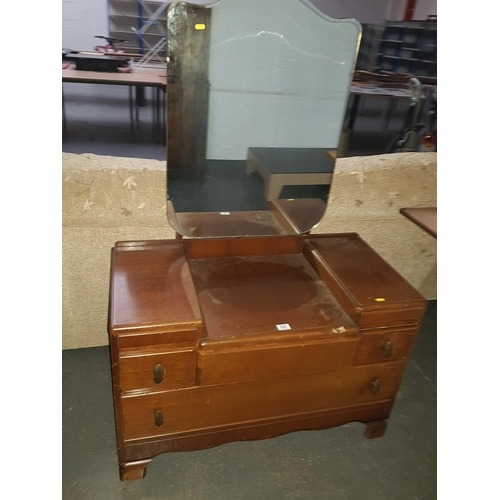 525 - Vintage wooden dressing table with mirror...