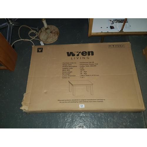 531 - Wren farmhouse chester oak coffee table new in box...