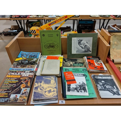 16 - Collection of motorcycle ephemera and programmes including T.T etc....