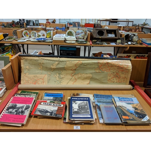17 - Collection of railway ephemera and LMS wall chart map...