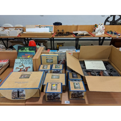 24 - Collection of Napoleonic metal boxed figures and model soldier books...