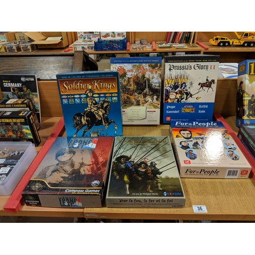 36 - Assorted board games including For The People, Prussian Glory II,Saints In Armour etc....