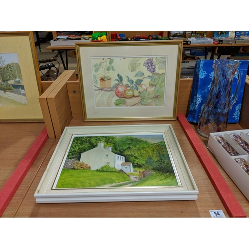 54 - Original oil on canvas and watercolour by Patricia M. Howles (Cardiff artist)...