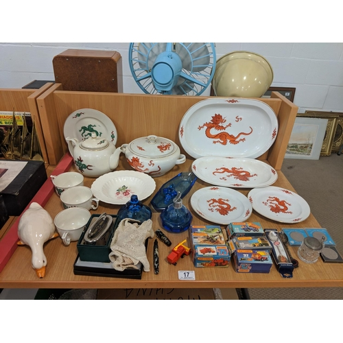 17 - Mixed miscellaneous items including Spode, Dresden, vintage items including money bank, Matchbox car...