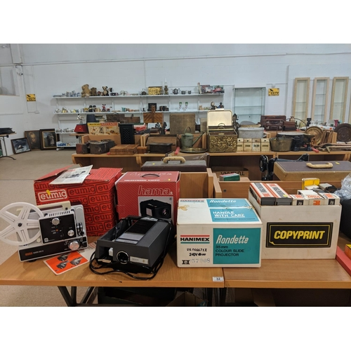 32 - Eumig mark 610D slide projector, Hanimex rondette slide projector, Hama telescreen video and a quant...