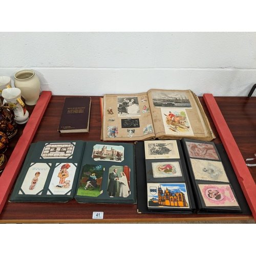 41 - Quantity of vintage postcards and a scrap book...