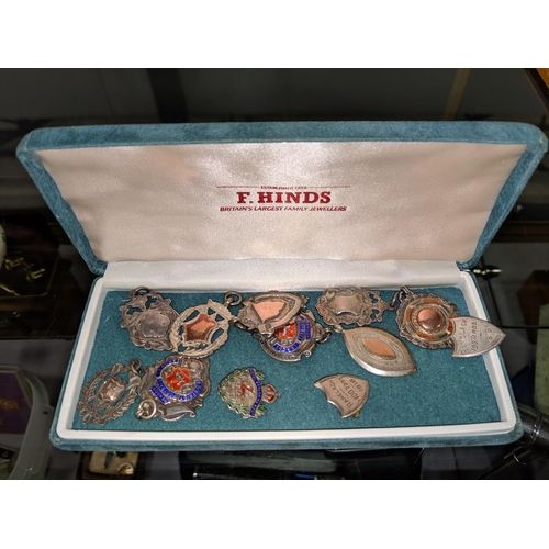 476 - Collection of 12 silver fobs...
