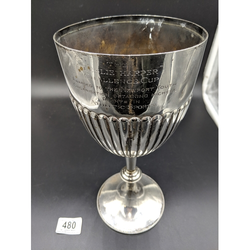480 - Hallmarked silver trophy- presented to The Newport Youth Organisation For Athletics - marks for Shef...