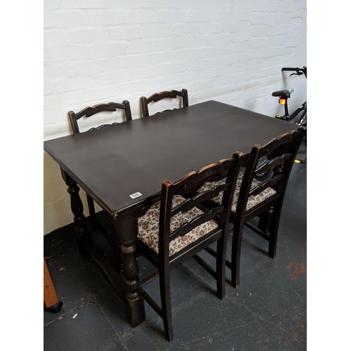 520 - Draw leaf dining table and four chairs...