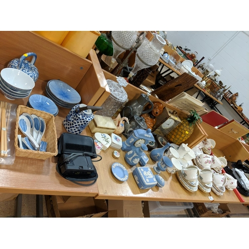 28 - Miscellaneous glass, china, clock, vintage pineapple, Wedgwood etc....