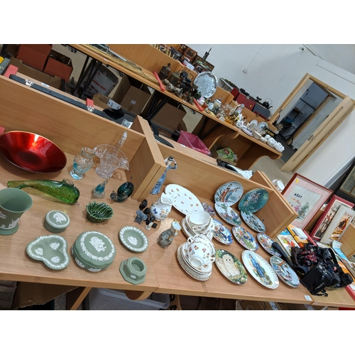 33 - A selection of mixed miscellaneous glass and china, cameras etc including Wedgwood and Aynsley...