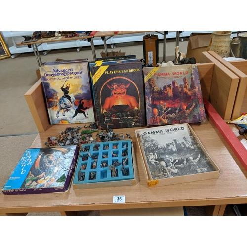 36 - Dungeons & Dragons books , Gama world metal figures etc....