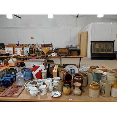 54 - Earthenware pots, glass decanters, china etc....