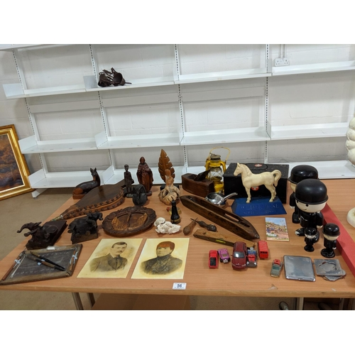56 - Treen items, vintage first aid box etc....