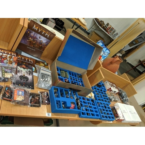 22 - Large collection of fantasy miniatures including Wrath of Kings, Teknes,Hadross and Nasier, also a q...