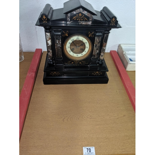 70 - A large slate mantle clock - late Victorian...