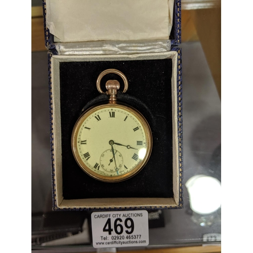 469 - A 9k gold pocket watch marked Dennison Watch Case Company Limited , fully hallmarked makers stamp - ...
