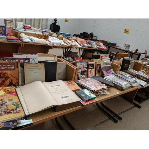 25 - A large quantity of sewing books, patterns and other books including The Portable Folio family bible...